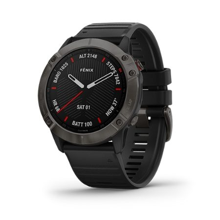Garmin fēnix® 6  Sapphire Carbon Gray DLC with Black Band Part Number 010-02158-45