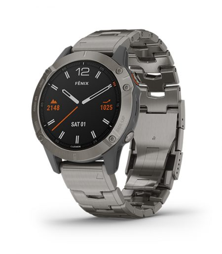 Garmin fēnix 6X Sapphrie Titanium with Vented Titanium Bracelet Part Number 010-02158-85