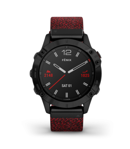Garmin fēnix 6 Sapphire Black DLC with Heathered Red Nylon Band Part Number 010-02158-65