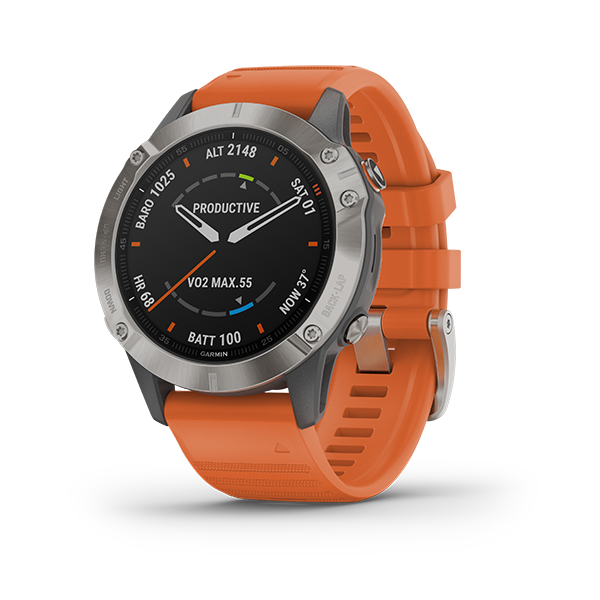 Garmin fēnix 6 Fitness Tracker with Orange Band Part Number 010-02158-55