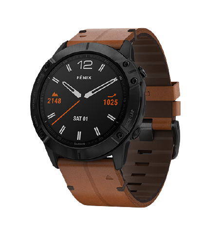 Garmin fēnix 6X Sapphire Black DLC with Brown Leather Band Part Number 010-02157-4B
