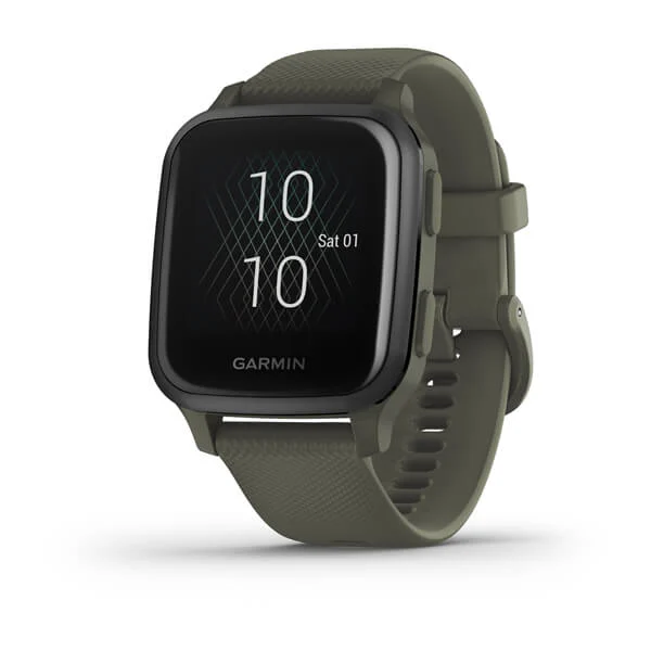Garmin Venu®Sq Music Edition Part Number 010-02426-83(Slate Aluminum Bezel with Moss Case and Silicone Band)