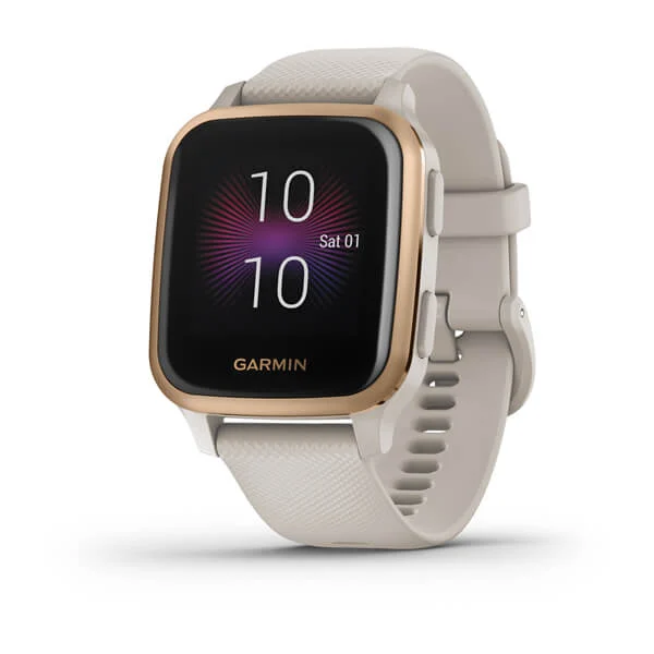 Garmin Venu® Sq – Music Edition Part Number 010-02426-81 (Rose Gold Aluminum Bezel with Light Sand Case and Silicone Band)
