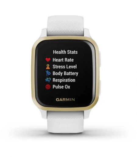 Garmin Venu® Sq Part Number 010-02427-81(Light Gold Aluminum Bezel with White Case and Silicone Band)