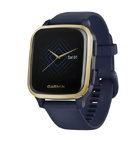 Garmin Venu® Sq – Music Edition Part Number 010-02426-82 (Light Gold Aluminum Bezel with Navy Case and Silicone Band)