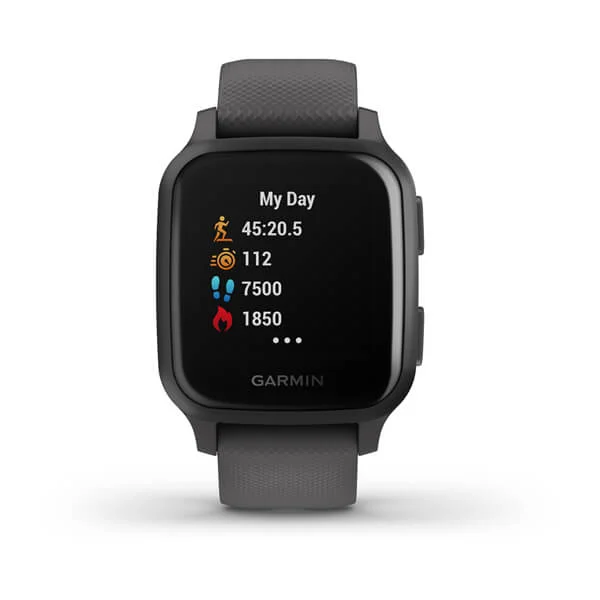 Garmin Venu® Sq Part Number 010-02427-80(Slate Aluminum Bezel with Shadow Gray Case and Silicone Band)