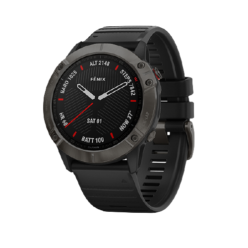 Garmin fēnix 6X Sapphire Carbon Gray DLC with Black Band Part Number 010-02157-45