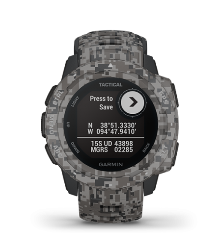Garmin Instinct® – Tactical Edition (Tactical Camo Graphite Rugged, Reliable outdoors GPS watches) Part Number 010-02064-C4