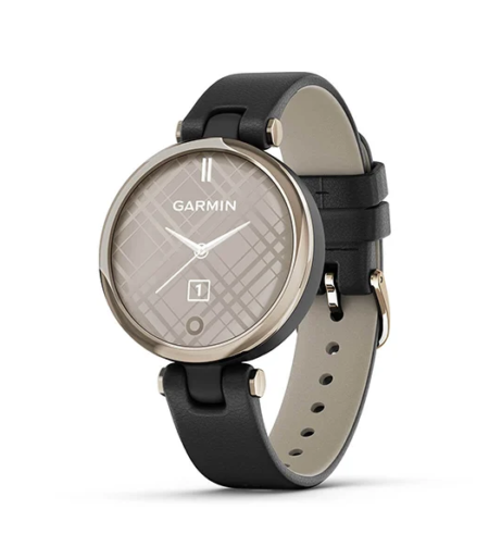 Garmin Lily CreamGold, Black, Leather