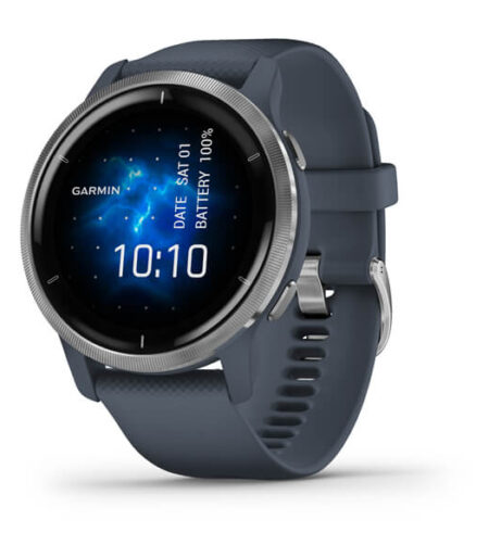 Garmin Venu® 2 Silver Stainless Steel Bezel with Granite Blue Case and Silicone Band Part Number 010-02430-70