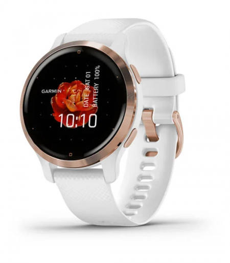 Venu 2S - Rose Gold Stainless Steel Bezel with White Case and Silicone Band
